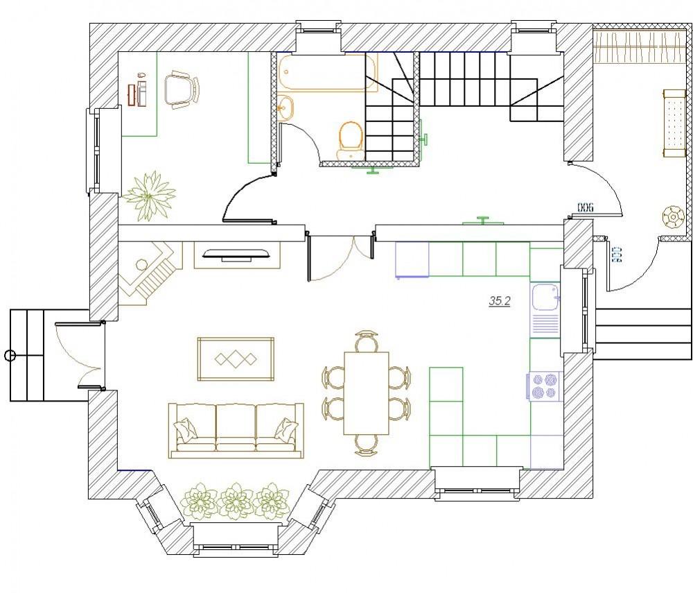 Планировка гостиной 1