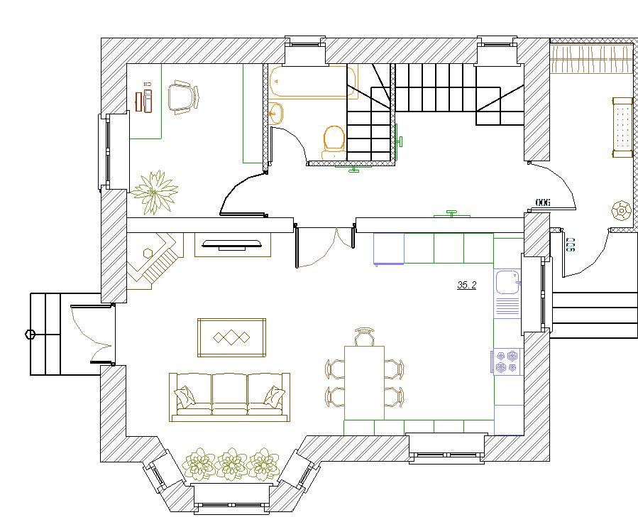 Планировка гостиной 4