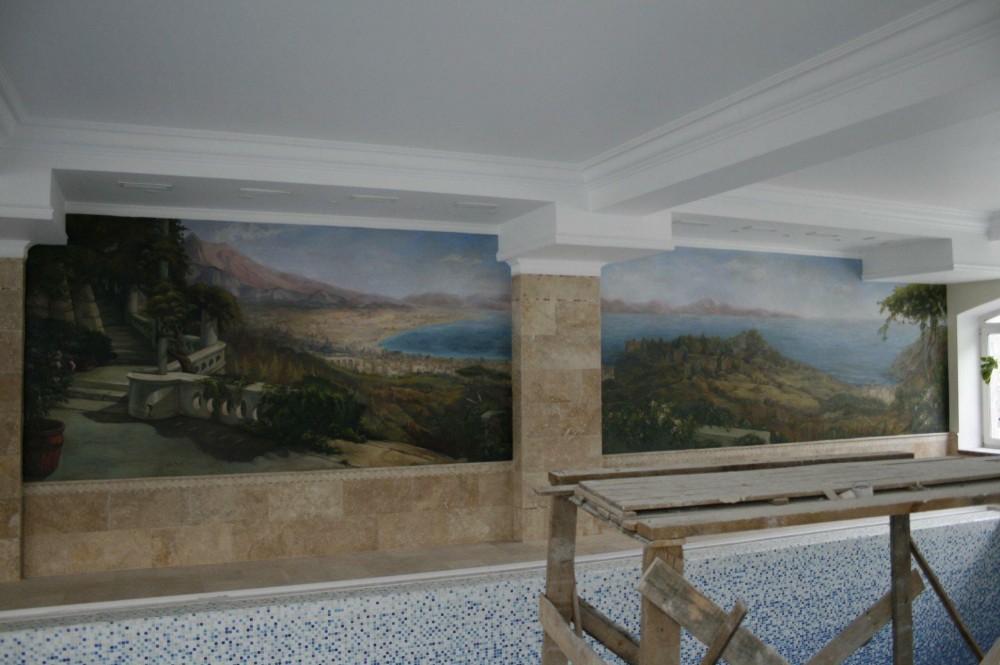 Настенная живопись в бассейне